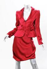 GIORGIO ARMANI Womens Red SILK Satin Zip Up Jacket Skirt Suit Outfit 40 NEW