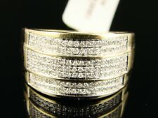 10k Mens Yellow Gold Round Cut Engagement Wedding Band Ring 12 MM .65 Ct