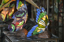 Pair (2) Tiffany Style Stained Glass Butterfly Night Lamp Handcrafted