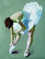 Oil painting ballet girl Doing exercises Wearing a white ballet Hand painted