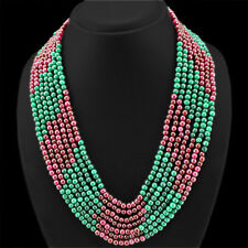 SUPERB QUALITY 588.00 CTS NATURAL RED RUBY & GREEN EMERALD 7 LINE BEADS NECKLACE