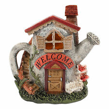 Miniature Fairy Garden Watering Can Welcome House with LED Home Garden Ornament