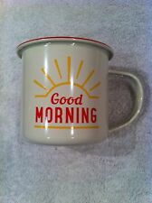 Urban Outfitters Good Morning Print Enamel Mug Ideal Camping /  Retro Caravan