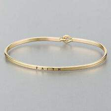 Simple Gold Faith Engraving Vintage Brass Classic Bangle Bracelet
