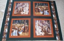 4 Deer Buckaroo Pillow Panels Fabric 100% Cotton Wildlife buck