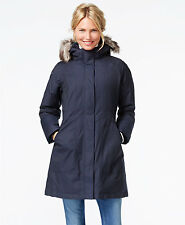 Sale Women THE NORTH FACE Arctic Parka Fur Hood Down Jacket Trench Coat Navy