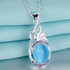925 Silver, Blue Cats Eye &  Amethyst  Pendant Necklace Ladies Gift Love