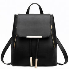 Women Girl Backpack Travel PU Leather Handbag Rucksack Shoulder School Bag Black