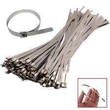 100PCS 4.6 x 200mm Stainless Steel Exhaust Wrap Coated Locking Cable Zip Ties