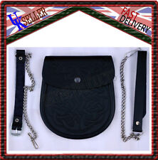 Celtic Knot Embossed Black Leather Medieval Scottish Kilt Sporran Pouch & Belt
