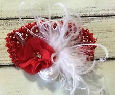 Handmade Vintage Red Flower and White Feather Baby Girl/Toddler/Girl  Headband