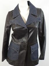 KLANDESTINE WOMENS BROWN LEATHER & DARK WASH DENIM JACKET SIZE 8 / 42 ITALY