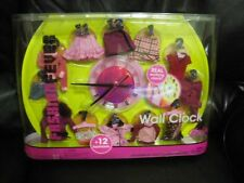 Barbie Fashion Fever working full-sized Wall Clock w/12 Doll Outfits Design 2005