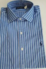 Bnwt homme polo ralph lauren à manches longues custom regent stripped shirt taille 14.5
