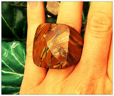 CHOCOLATE BIG STONE GENUINE TIGER EYE FACETED BROWN RING MACYS QVC SZ 9 6 7 LG
