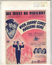 Rare Original Vintage 1942 When Johnny Comes Marching Home Sheet Music Print