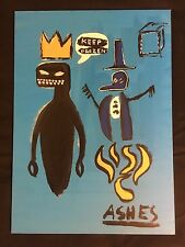 JEAN-MICHEL BASQUIAT, ORIGINAL OLD OIL PAINTING ON WOOD PANEL
