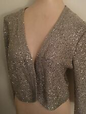 Oscar de la Renta Sequin Silk Blend Bolero Size L