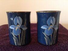 Otagiri Stoneware 2 Juice Tumblers Blue Iris Floral Cobalt Speckled NICE!