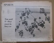 Russian Wings vs Providence Reds Hockey Game 1975 Boston Globe Sports Section