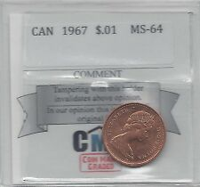 **1967**Coin Mart Graded Canadian Small One Cent, **MS-64**