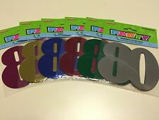 12 x 80 Birthday Party Foil Cutouts Numbers Assorted Colours   Decoration   80th
