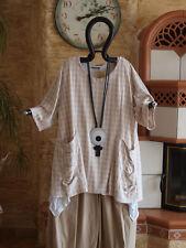 8125 LABASS 2016 Lagenlook Shirt Taschen gesmokt beige Kreise L XL 44 46 48