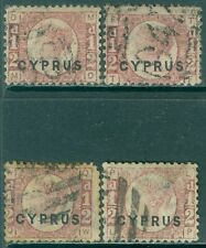 CYPRUS : 1880. Stanley Gibbons #1. 4 VF, Used stamps. All Plate 15. Cat £400.00