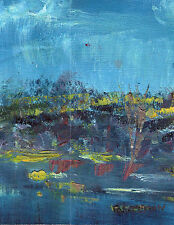 """BLUE LANDSCAPE"" by Ruth Freeman OIL PAINTING ON UN STRETCHED CANVAS 6""X8"""