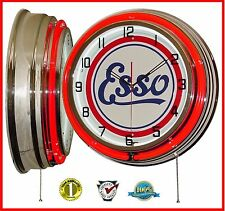 """19"""" ESSO Gasoline Motor Oil Sign Red Double Neon Lighted Wall Clock Chrome"""
