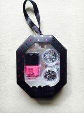 NEW NAIL ART SET GLITTER DIAMANTE PINK POLISH GIFT BNIB NIGHT TIME SHIMMER STARS