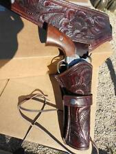 "Holster 45 or 44 caliber fits 44"" waist THICK tooled leather Western cowboy"