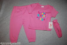 Baby Girls THREE PC SET Tee Shirt Pants Headband PINK Love Kisses Hugs 0-3 MO