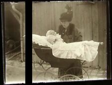 PLAQUE VERRE PHOTO NEGATIF circa.1914 MERE ET FILS mother & son  (B27)