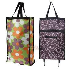 P4PM  Portable Folding Wheeled Carrier Rolling Grocery Shopping Travel Cart Bag