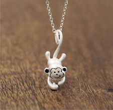 925 Sterling Silver - Chic Korea 3D Stereoscopic Monkey Pendant Party Necklace