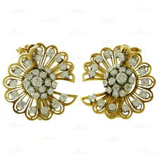 VAN CLEEF & ARPELS Rare Retro 1940s 18k Gold Diamond Clip-on Earrings Brooches