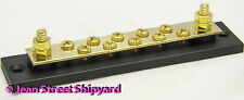 Marine RV Brass 10 Gang Terminal Block Connector Common Buss Bar on Insulator
