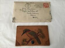 Hand tooled signed leather wallet with New Zealand Kiwi bird and 1945 letter