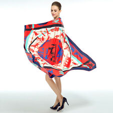 """Women's Red Silk Square Shawl Scarf with Euro Fashion Printed Large Size 51""""*51"""""""