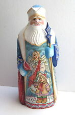 OOAK RUSSIAN HAND CARVED LARGE WOODEN SANTA WITH ANGEL & CHILD SIGNED   NEW
