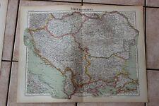 Ancienne carte Atlas universel Géographie - 1919 - N°32 Etats Danubiens Hachette