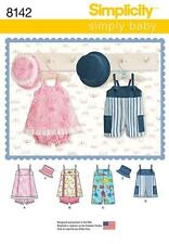 SIMPLICITY SEWING PATTERN BABIES ROMPER JUMPER PANTIES HATS S - L 8142 A