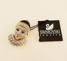 Retired Vintage Swarovski Crystal Signature Brand Pierrot Clown Brooch, pin