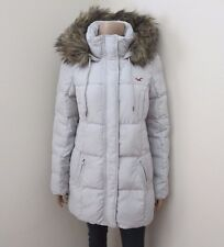 NWT Hollister Womens Long Puffer Coat Down Jacket Size Medium Fur Hood Hoodie