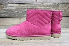 UGG Australia Womens Classic Mini Arden Lonely Hearts Pink Sheepskin Boots US 10