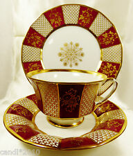 FURSTENBERG GERMANY PORCELAIN 3 piece CUP SAUCER DESSERT PLATE SET GOLD RED