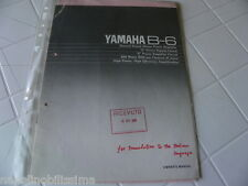 Yamaha B-6 Owner's Manual  Operating Instructions Istruzioni   New
