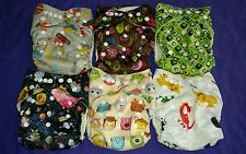 Lot of 6 AIO Bamboo Inner & Bamboo Inserts cloth double-gusset diapers US Seller