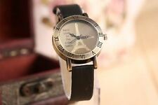 Vintage Roman Numeral Hours Ladies Watch Gift For Her Women Black Leather Strap